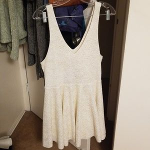 Skater cut white and gold dress